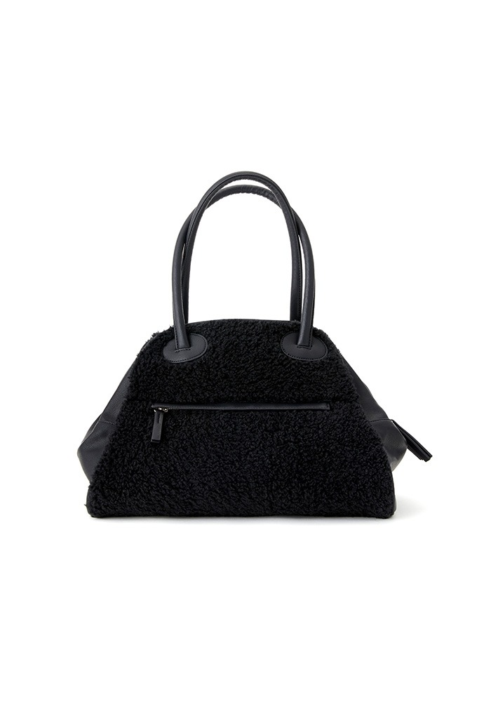 TWO ZIPPER BAG  FUR (BLACK PEPPER)