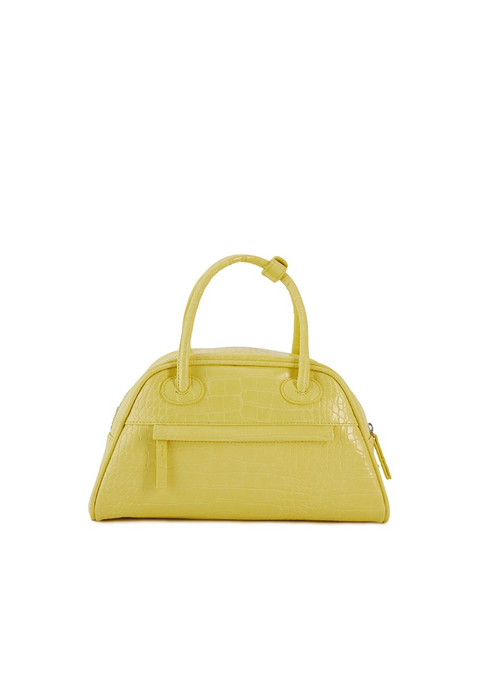 TWO ZIPPER BAG CROC MEDIUM(LEMON CANDY)