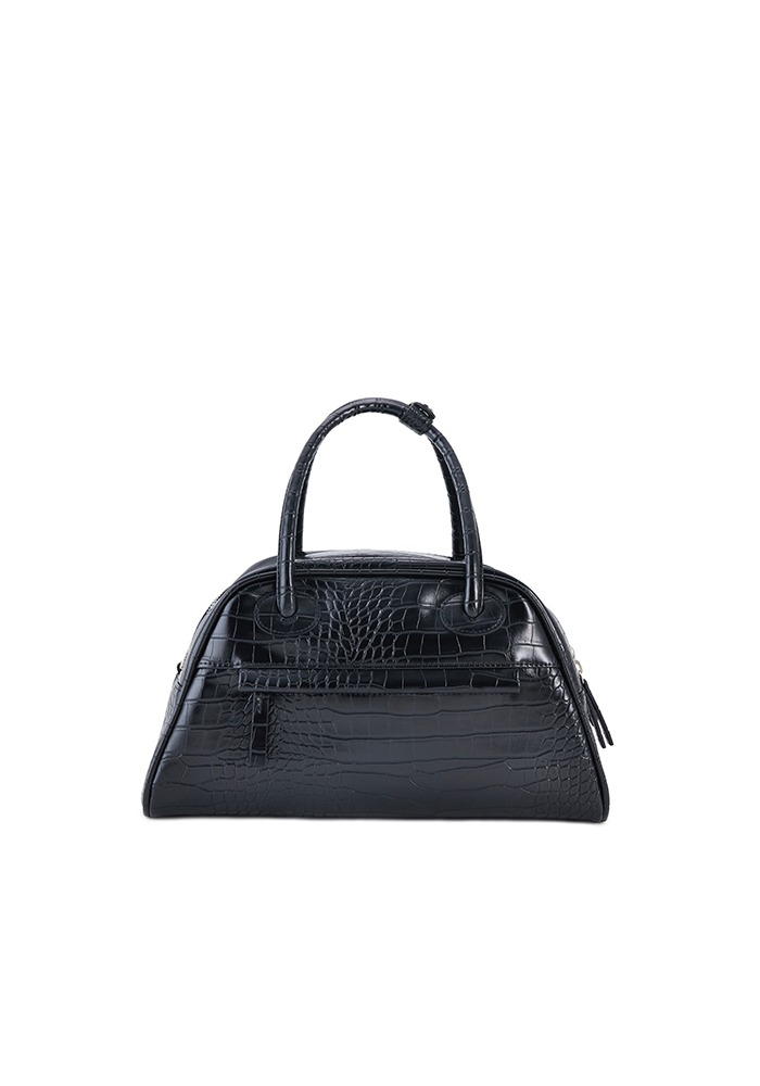 TWO ZIPPER BAG CROC MEDIUM(BLACK PEPPER)